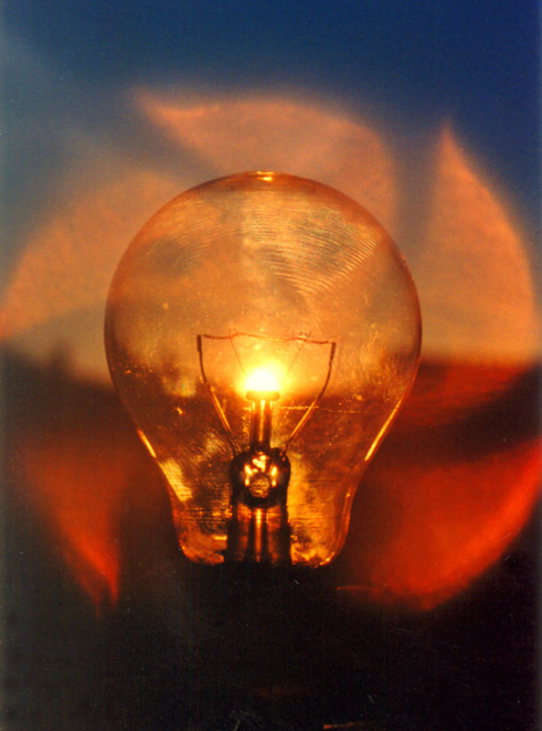 Sunset behind a lightbulb